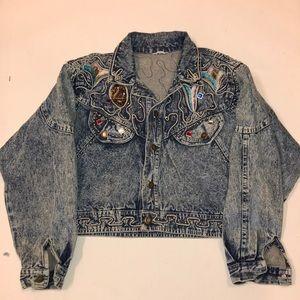 Vintage acid wash cowgirl bejeweled studded jacket